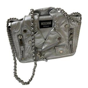 Moschino Biker Bag in Silver With Silver Hardware